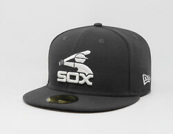 New Era 59Fifty Hat MLB Chicago White Sox Mens Charcoal Gray Fitted 5950 Cap