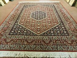 8' X 10' Vintage Fine Hand Made India Jaipur Wool Rug Hand Knotted Carpet Red