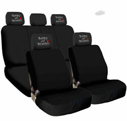 Black Cloth Car Seat Cover Full Set Baby On Board Headrest Covers Universal Size