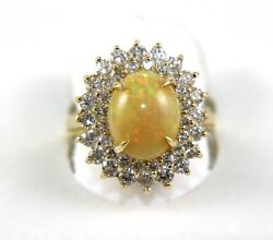Huge Oval Fire Opal And Diamond Halo Solitaire Ring 14k Yellow Gold 3.89ct
