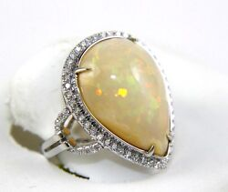 Fine Huge Pear Cut Fire Opal Cocktail Ring W/diamond Halo 14k White Gold 7.09ct