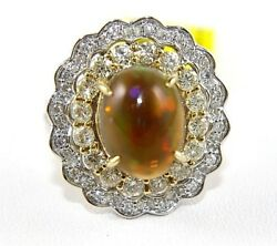 Oval Fire Opal And Diamond Halo Solitaire Ring 14k White Gold 4.53ct