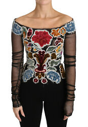 Dolce And Gabbana Blouse T-shirt Black Floral Ricamo Top It40 / Us6 / S Rrp 6000