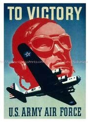 Bedroom Man Cave To Victory Us Army Air Corps Paper Poster