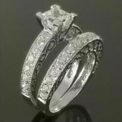 SIDE STONES COLORLESS PRINCESS DIAMOND RING WOMENS 3.12 CARAT 14 KT WHITE GOLD