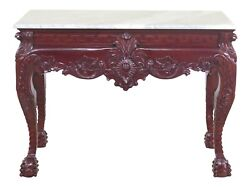 31356ec Marble Top Heavily Carved Mahogany Claw Foot Console Table