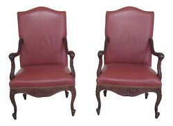 48320ec Pair Old Hickory Tannery Leather Carved Walnut Arm Chairs