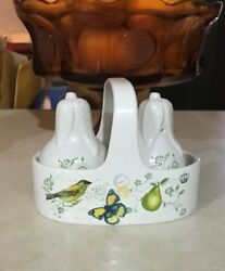 Mikasa Antique Countryside Pear Salt And Pepper With Caddy Excellent Used Conditio