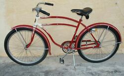 1940and039s Rollfast Men Bicycle Red Restored Wheels 26 Skip-tooth Antique Americana