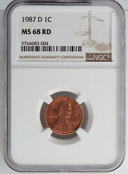 1987-d Lincoln Cent Ngc Ms68rd