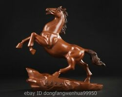 Red Copper Chinese Zodiac Lucky Wealth Fengshui Animal Horse Steed Sculpture