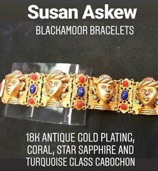 Askew London 18k Finish Signed Blackamoor Bracelet With Colored Glass Cabochons