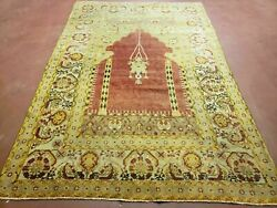 4and039 5 X 7and039 Antique Hand Made Turkish Prayer Melas Oushak Wool Rug Mehrab Nice