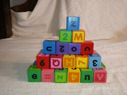 Vintage Set Of 35 Hand Painted Wood Playing Stacking Toy Blocks Alphabet And Numbe