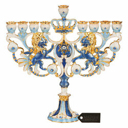 Matashi Hand Painted Blue And Ivory Regal Lion Menorah Candelabra Ornament Gift