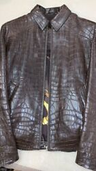 NEW Men's Jacket Coat from Crocodile skin Leather with Silver Clasps Size S #194