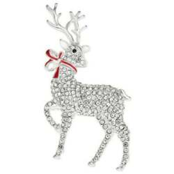 Napier Reindeer Brooch Pin Silver Tone Winter Christmas NEW w Box Red Bow