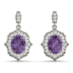 New 14k White Gold Diamond And Purple Amethyst Scalloped Halo Dangling Earrings