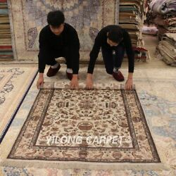 Yilong 4and039x6and039 Antique Silk Hand Made Area Rug White Hand Craft Porch Carpets 067m