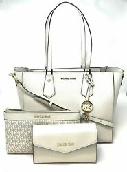 New Michael Kors Kimberly 3 In 1 Leather Tote Crossbody Bag Clutch $548 $177.97