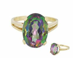 Womenand039s 10k Yellow Gold 14x10mm Rainbow Mystic Fire Topaz Oval Cut Cocktail Ring