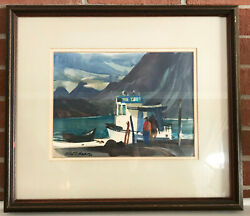 Framed 1960s Watercolor Painting Original By Robert E.wood 1926-1999
