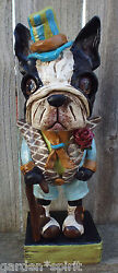 Folk Art Vintage Boston Terrier Dog Custom Order Boston Dapper
