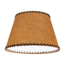 Oiled Parchment 12 Inch Empire Washer Fitter Lamp Shade With Stitched Trim And M