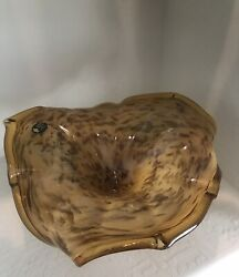 Murano Large Decorative Glass Bowl/centerpiece In Amber Silver Base
