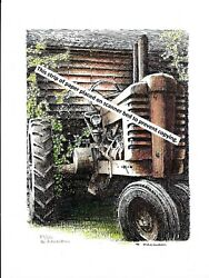 John Deere Model A Styled Pen And Ink Color Print