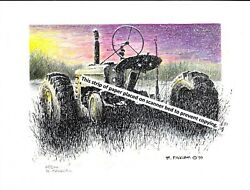 John Deere Model H Farm Tractor In Snow Pen And Ink Color Print
