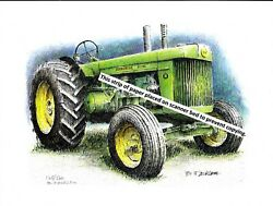 John Deere Model R Tractor, Styled  Pen And Ink Color Print