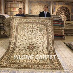 Yilong 6and039x9and039 Beige Handmade Silk Carpet Home Decor Hand Knotted Area Rugs 187ab