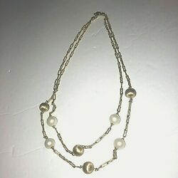 2895.00 Beautiful 18k Solid Yellow Gold Necklace Pearls 21 Grams