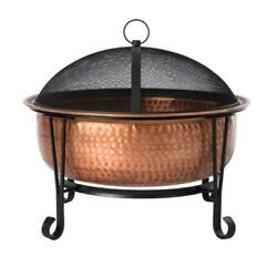 Fire Sense Fire Pit 26 In. X 21 In. Round Copper Hammered Bowl Wood Burning Tool