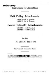 Early Ih Farmall H M Tractor Belt Pulley And Pto Attachments Owners Install Manual