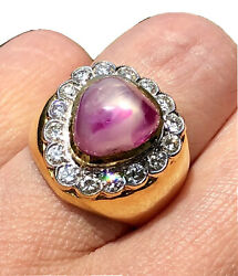 Diamond Halo Pear Ruby Cabochon 18k Yellow Gold Retro Vintage Dome Cocktail Ring