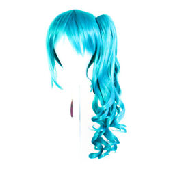 23'' Curly Pony Tail + Base Peacock Blue Cosplay Wig NEW