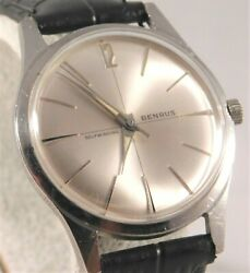 Benrus Automatic Stainless Steel Silver Sunburst Dial Vintage Mens Watch....34mm
