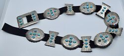 Huge Native American Navajo Turquoise Sterling Silver Concho Belt Nathan George