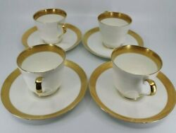 Set 4 Mikasa Harrow Footed Teacup Cup Saucer Set Gold White More Avail