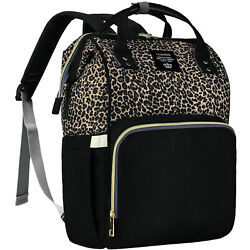 Lequeen Mommy Leopard Brown Diaper Nappy Bag Maternity Baby Backpack $29.99