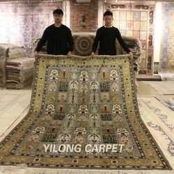 Yilong 6and039x9and039 Garden Scene Hand Knotted Area Rug Green Handmade Silk Carpet 040b