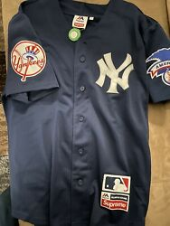 Ss15 Supreme X Majestic New York Yankees Jersey Navy Large New