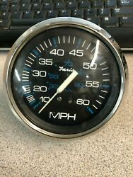 Used Outboard Faria Speedometer Gauge 10-60 Mph