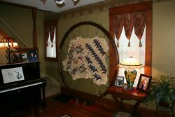 7 ft Round Walnut Frame with Adjustable pull cords & Indian Beaded Brain Leather