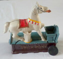 Vintage Yield House Coin Bank Trick Pony Horse Mechanical Works Great Cast Metal