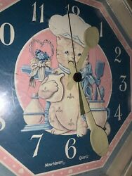 Vintage New Haven Cat Chef Spoon Hands Country Crock Pitcher Clock 10/10 ❤️sj7m
