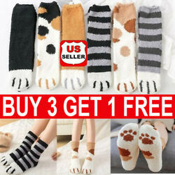 Winter Cat Claws Cute Thick Fluffy Warm Sleep Floor Socks Plush Coral Xmas Gift