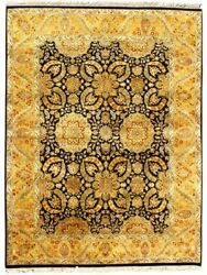 9x12 Hand Knotted Area Rugs Indian Handmade Traditional Black Gold Home Carpets